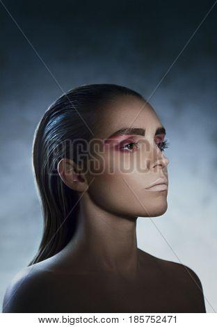 Woman with fashion make up, model, photo