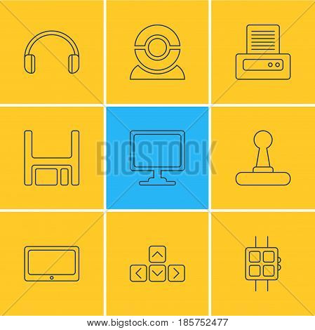 Vector Illustration Of 9 Notebook Icons. Editable Pack Of Keypad, Diskette, Modern Watch And Other Elements.