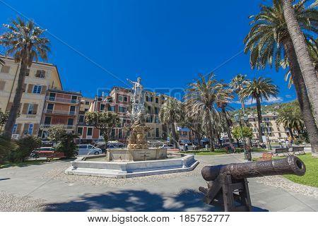 Monument To Christopher Columbus In Santa Margherita Ligure