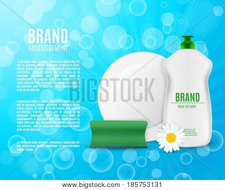 Dishwashing liquid bottle with sponge and plate. Washing dishes ads. 3d illustration. EPS10 vector