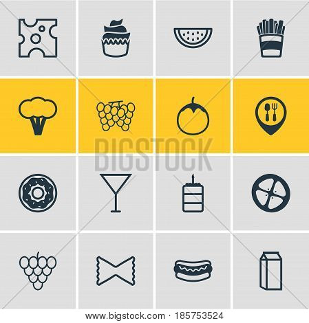 Vector Illustration Of 16 Food Icons. Editable Pack Of Cake, Farfalle, Dessert And Other Elements.