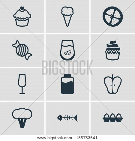 Vector Illustration Of 12 Cooking Icons. Editable Pack Of Goblet, Caramel, Jonagold And Other Elements.