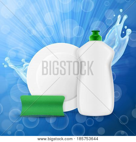 Dishwashing liquid bottle with sponge and plate. Washing dishes concept. 3d illustration. EPS10 vector