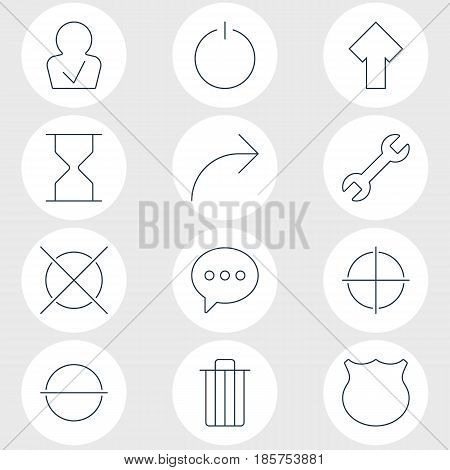 Vector Illustration Of 12 Interface Icons. Editable Pack Of Remove, Upward, Message And Other Elements.