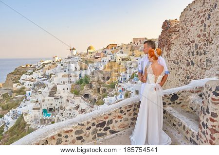 young couple on Santorini island