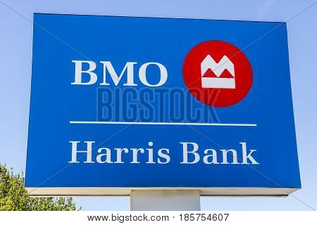 Indianapolis - Circa May 2017: Signage and Logo of BMO Harris Bank. BMO Harris is one of the Largest Banks in the Midwest VI