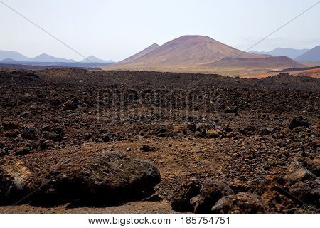 Volcanic  Lanzarote  Spain  Timanfaya  Rock  Sky  Hill  Summer