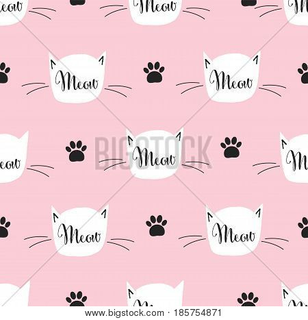 Seamless pattern with cat. Meow pattern. Vector stock.