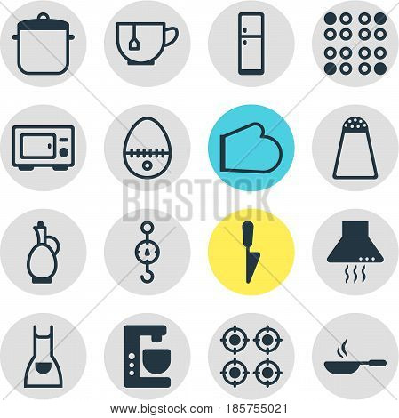 Vector Illustration Of 16 Kitchenware Icons. Editable Pack Of Steelyard, Mixer, Carafe And Other Elements.