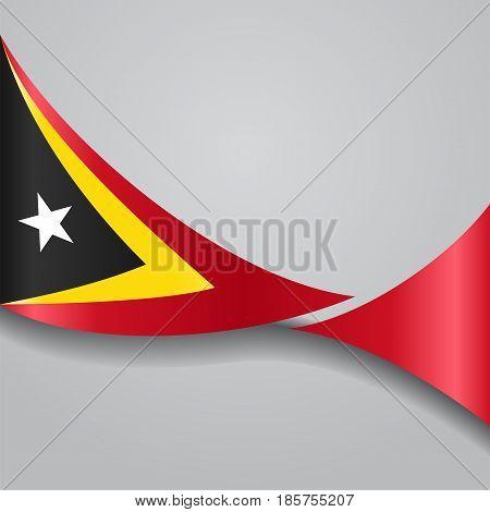 Timor-Leste flag wavy abstract background. Vector illustration.