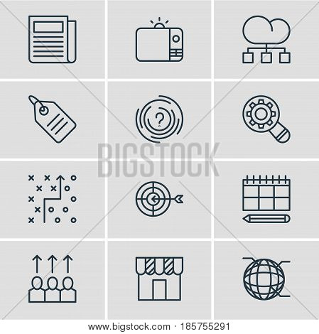 Vector Illustration Of 12 Marketing Icons. Editable Pack Of Daily Press, Maze, Television And Other Elements.
