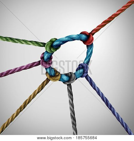 Leadership pull concept and guiding a team as a leader directing the direction of a diverse group of rope symbols tied to a circle as a business metaphor for strong guidance.