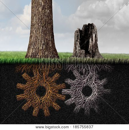 Economic crisis and business partnership death as an industry and economy symbol for a declining work relationship as a dieing tree and roots shaped as a gear with 3D illustration elements.