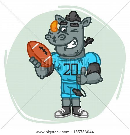 Rhino Football Player Holds Ball Shows Thumbs Up And Winks