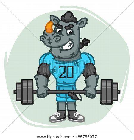 Rhino Football Player Holds Barbell