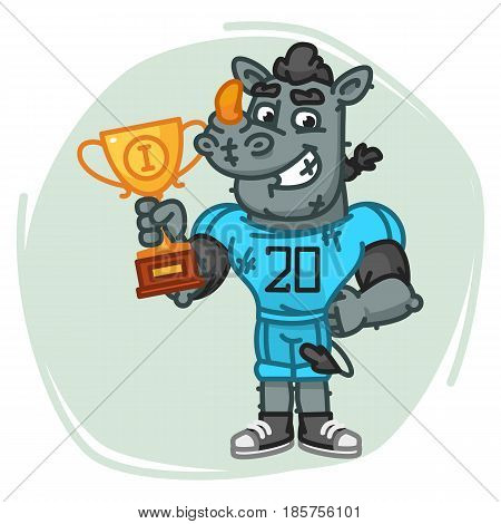 Rhino Football Player Holds Cup