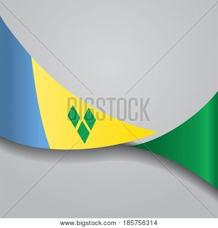 Saint Vincent and the Grenadines flag wavy abstract background. Vector illustration.