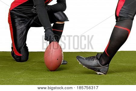 American Football Kicker About To Execute A Kickoff Close-up - Isolated