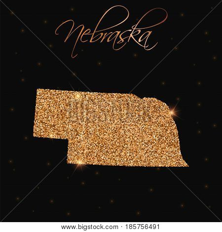 Nebraska State Map Filled With Golden Glitter. Luxurious Design Element, Vector Illustration.