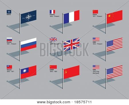 The flags of NATO and the five current permanent members of the UN Security Council, plus former members Taiwan and the USSR, and the US flag of 1945. Drawn in CMYK and placed on individual layers.