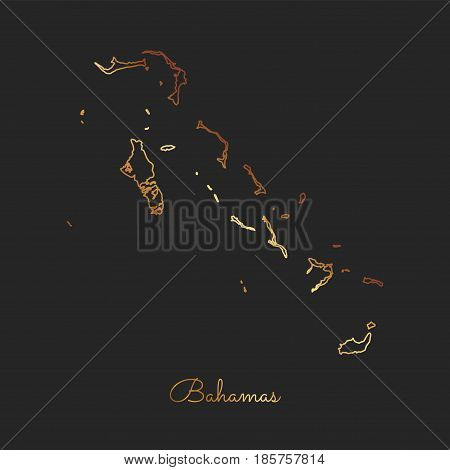 Bahamas Region Map: Golden Gradient Outline On Dark Background. Detailed Map Of Bahamas Regions. Vec