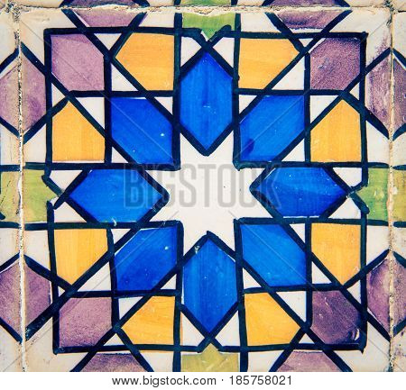 Colorful ceramic tiles in the town of sintra Portugal