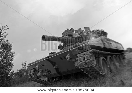 An American M551 Sheridan light tank, armed with the MGM-51 Shillelagh gun-launched missile system, going on the offensive in Vietnam.