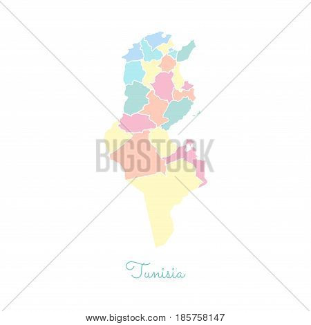 Tunisia Region Map: Colorful With White Outline. Detailed Map Of Tunisia Regions. Vector Illustratio