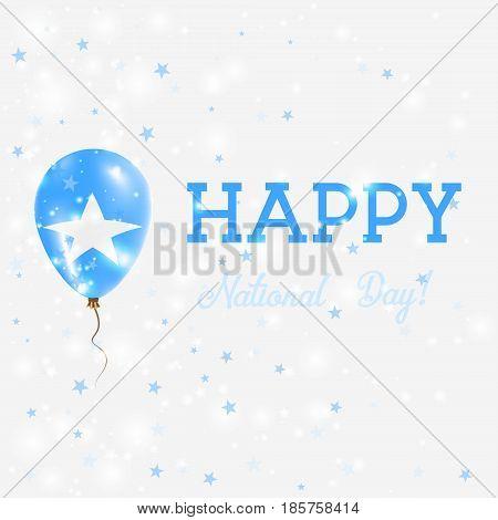 Somalia National Day Patriotic Poster. Flying Rubber Balloon In Colors Of The Somali Flag. Somalia N