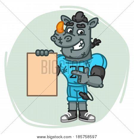 Rhino Football Player Indicates On Blank Sheet Paper