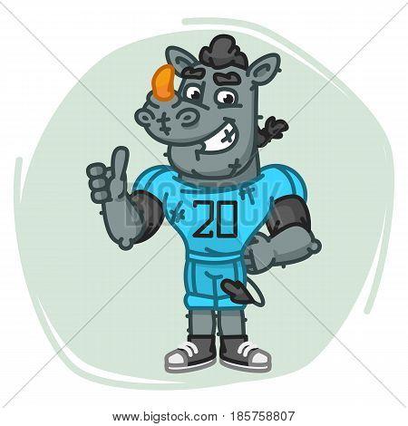 Rhino Football Player Shows Thumbs Up