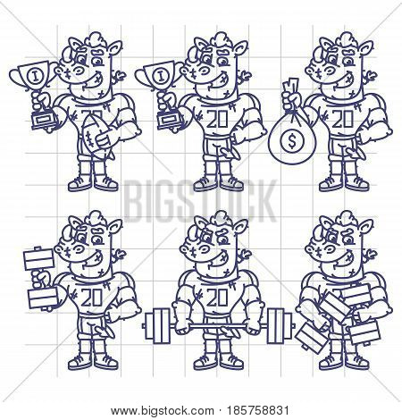 Sketch Character Set Rhino Football Player Holds Cup Money Dumbbell