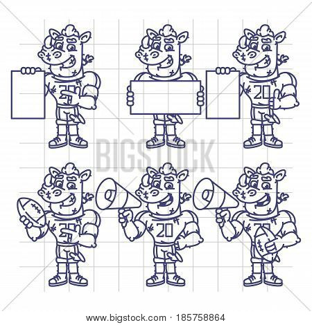 Sketch Character Set Rhino Football Player Holds Megaphone Ball Paper
