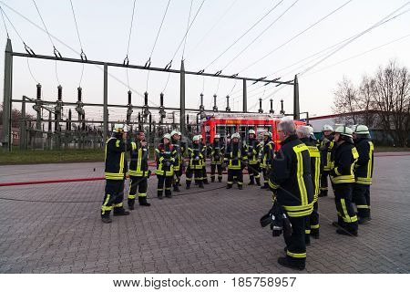 Hamburg, Germany - April 18, 2013: Hdr - Firefighter Team Lined Up At The Briefing