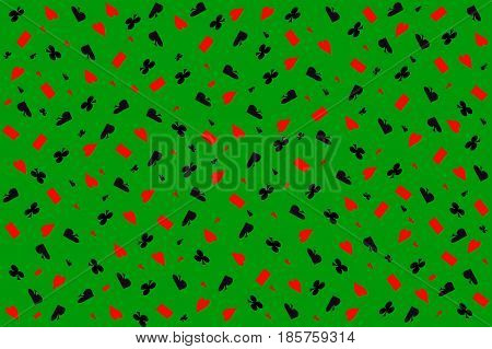 Poker background.Set of four card suits on green as casino background.