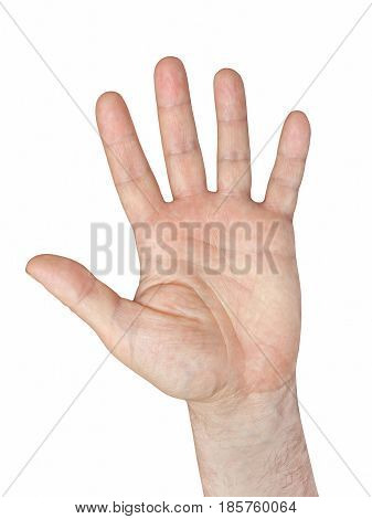 Human hand gesture isolated on white background taken closeup.