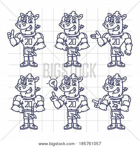 Sketch Character Set Rhino Football Player Shows And Points