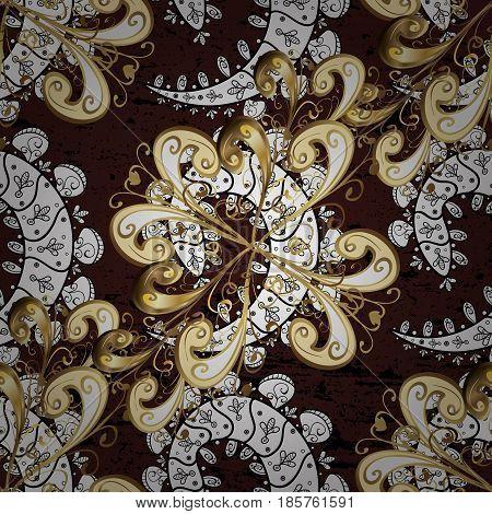 Oriental style arabesques. Vector golden pattern. Brown background with golden elements. Vector illustration. Seamless golden textured curls.