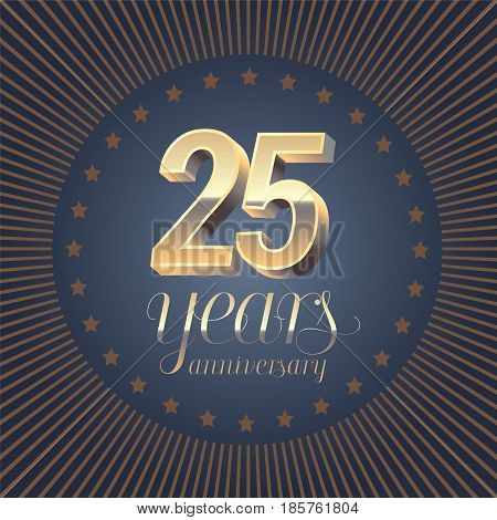 25 years anniversary vector logo. Decoration design element with medal and 3D number for 25th anniversary