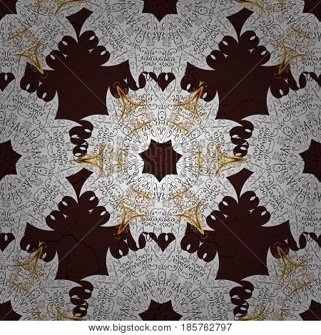 Floral ornament brocade textile pattern glass metal with floral pattern on brown background with golden elements. Seamless classic vector golden pattern.