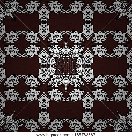 Seamless oriental ornament in the style of baroque. White pattern on brown background with white elements. Traditional classic white pattern. Vector oriental ornament.