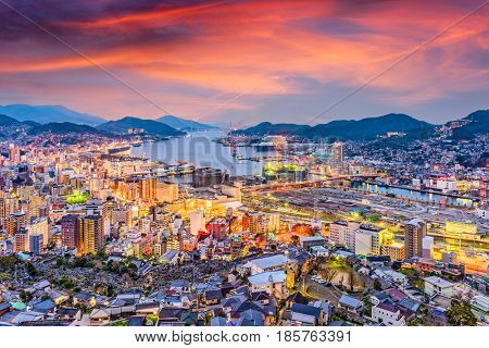 Nagasaki, Japan skyline at dusk.