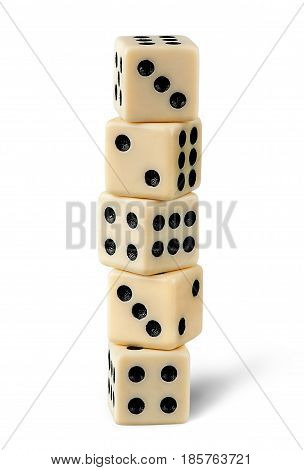 Five gaming dice isolated on white background