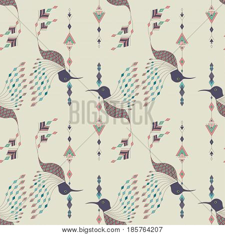 Exotic Aztec Birds Seamless Pattern. Geometric Abstract Tribal Style. Vector Illustration