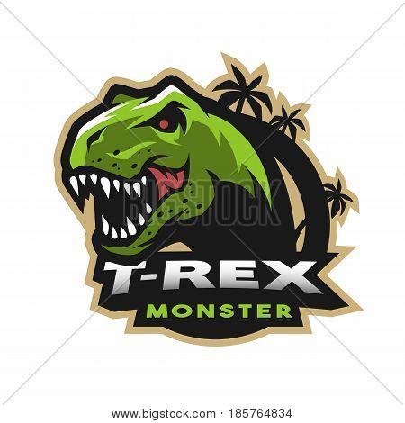 Dinosaur head logo emblem. T-rex monster. Vector illustration