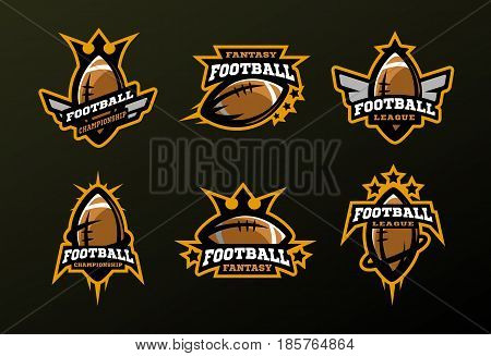Set of sports logos games in American football. Vector illustration.