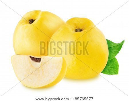 Composition with juicy quinces isolated on a white