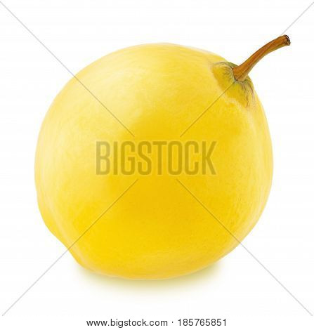 Ripe apple-quince with stem isolated on a white