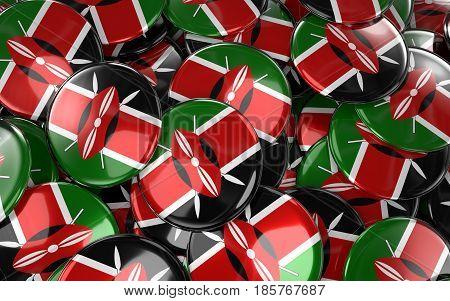 Kenya Badges Background - Pile Of Kenyan Flag Buttons.