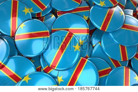 Congo Badges Background - Pile Of Congolese Flag Buttons.